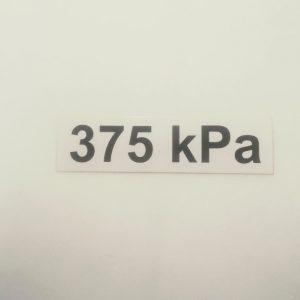 Nálepka - označenie tlaku v pneumatikách - 375 kPa