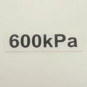 Nálepka - označenie tlaku v pneumatikách - 600 kPa