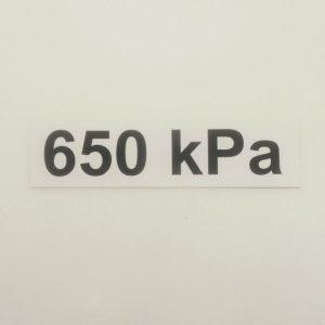 Nálepka - označenie tlaku v pneumatikách - 650 kPa