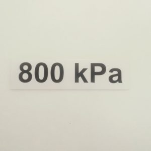 Nálepka - označenie tlaku v pneumatikách - 800 kPa